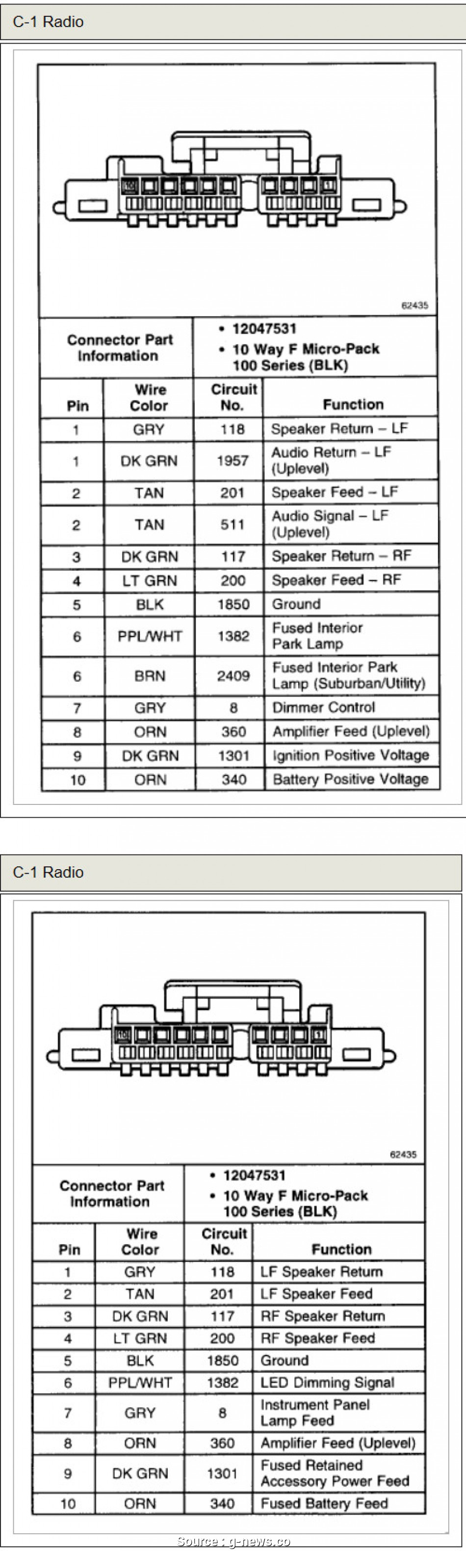 2007 Chevy Impala Factory Radio Wiring Diagram