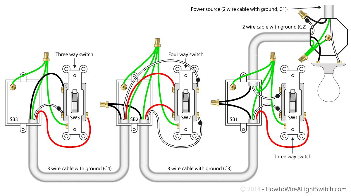 Wondrous 4 Way Switch With Power Feed Via The Light How To Wire A Light Wiring Cloud Inklaidewilluminateatxorg