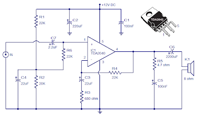 Ka 2782 Tda2040 Car Stereo Amplifier Circuit Simple Schematic Diagram Download Diagram