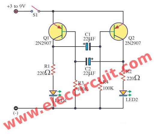 Awe Inspiring Led Flashers Circuits And Projects Using Transistor Eleccircuit Com Wiring Cloud Filiciilluminateatxorg