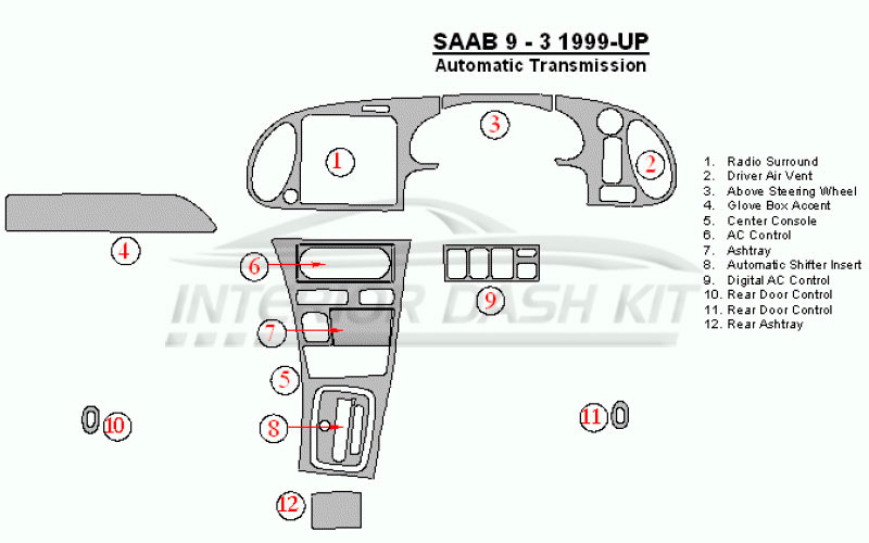 Saab 9-3 03-06 radio with infotainment auto transmission Dash Kit Trim SAB-2A