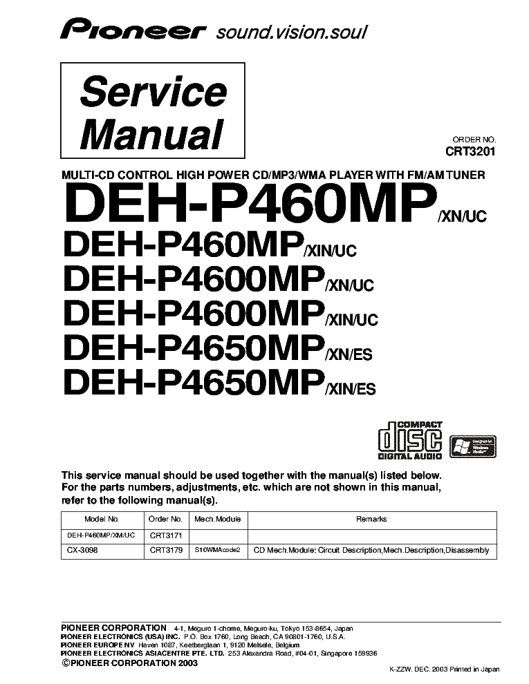 Ly 0497  Pioneer Deh P4600mp Wiring Diagram Free Diagram
