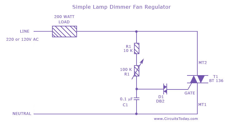 Stupendous Simple Lamp Dimmer Fan Regulator Circuit Using A Triac Wiring Cloud Biosomenaidewilluminateatxorg