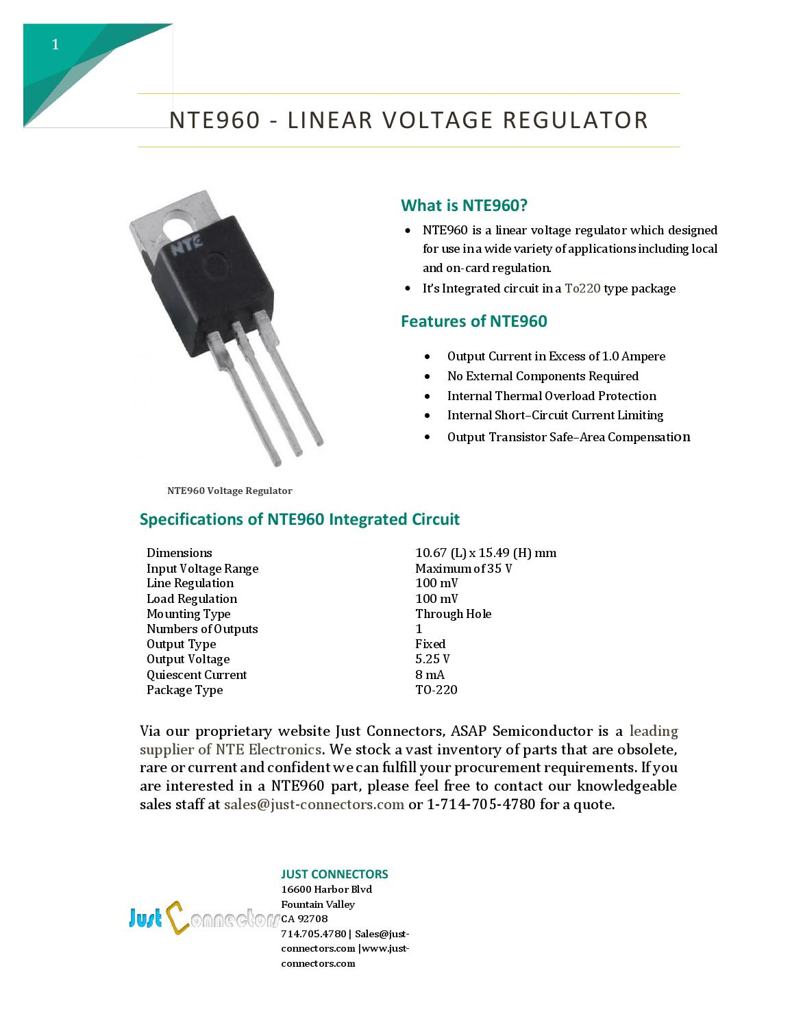 Brilliant Nte960 Linear Voltage Regulator By Just Connectors Issuu Wiring Cloud Grayisramohammedshrineorg