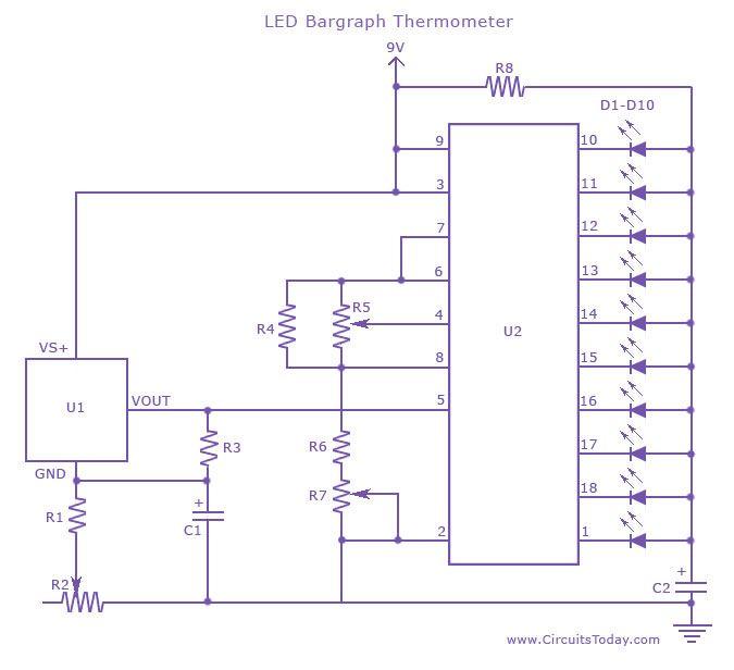 Enjoyable Temperature Measurement Circuit Using Led Bargraph Battery Charger Wiring Cloud Gufailluminateatxorg
