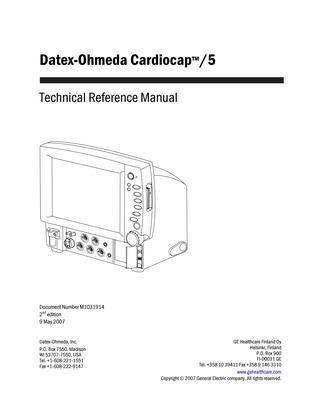 Swell Datex Ohmeda Cardiocap 5 Service Manual 2007 By Guillermo Wiring Cloud Ittabisraaidewilluminateatxorg