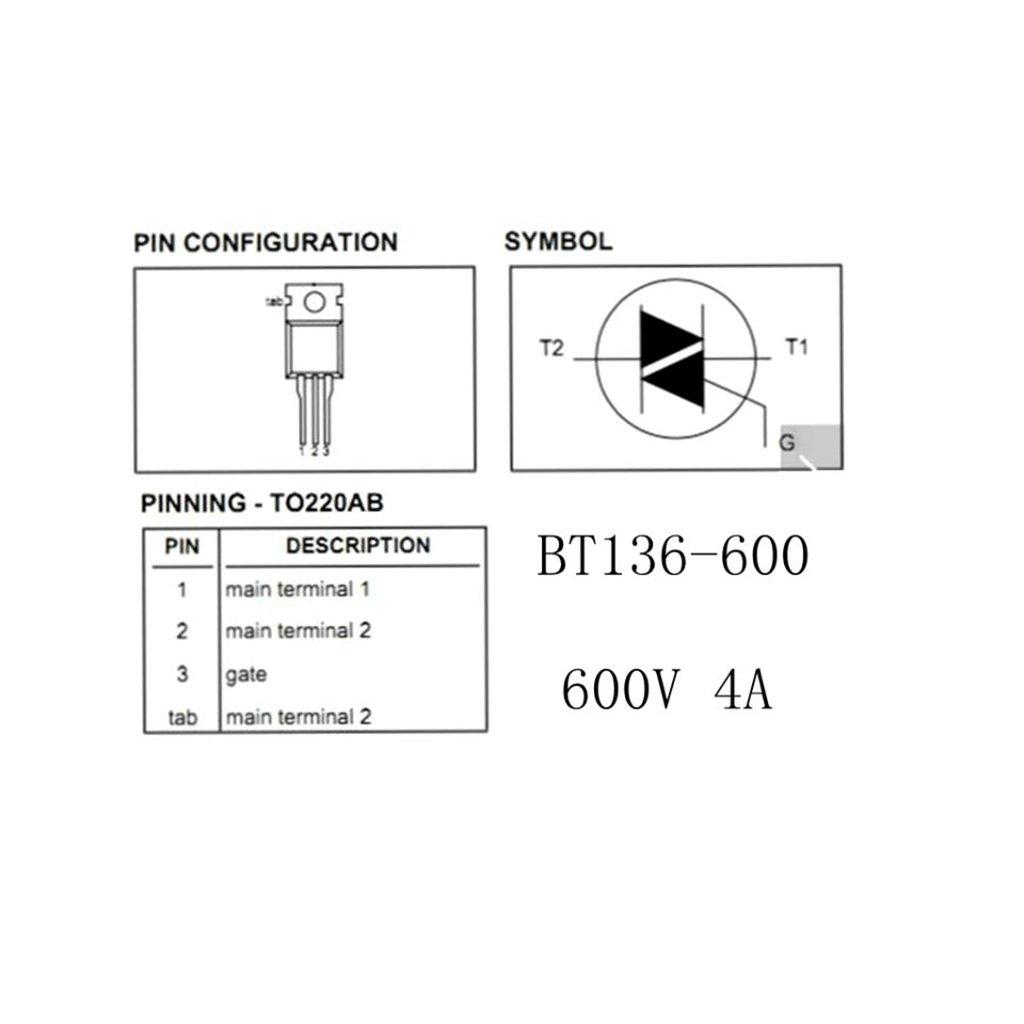 2 or 5 BT136-600E Sensitive Gate Triacs 4A 600V Pack of 1 TO-220