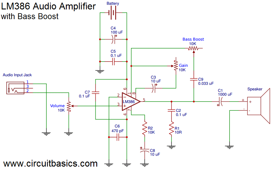 Stupendous Build A Great Sounding Audio Amplifier With Bass Boost From The Lm386 Wiring Cloud Licukosporaidewilluminateatxorg