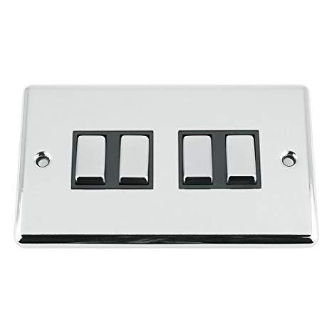 BG Nexus Metal Black Nickel Quad Light Switch 4 Gang 2 Way NBN44 10 Amp