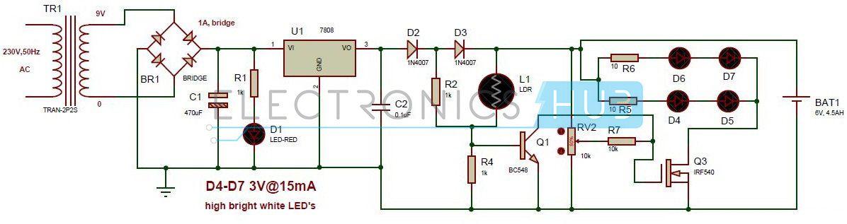 Super Automatic Led Emergency Light Circuit Diagram Using Ldr Wiring Cloud Hemtegremohammedshrineorg