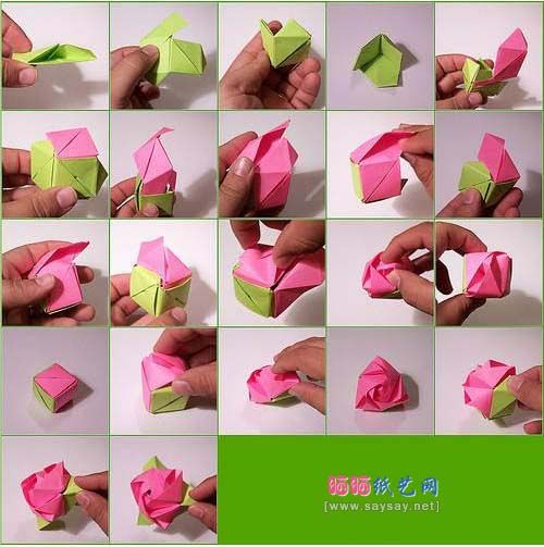 Origami Steps To Make A Rose | Easy origami rose, Origami rose box ... | 503x500