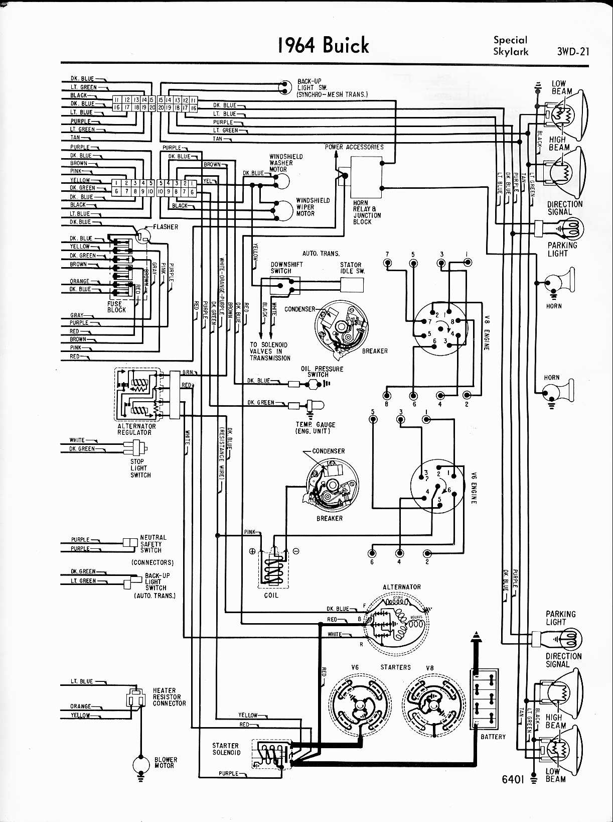 "1969 69 Buick Skylark Full Color Laminated Wiring Diagram 11/"" X 17/"""