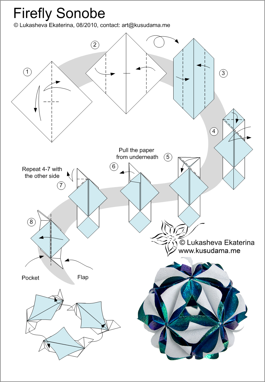 Modular: free diagrams instructing you how to fold unit origami ... | 1333x925