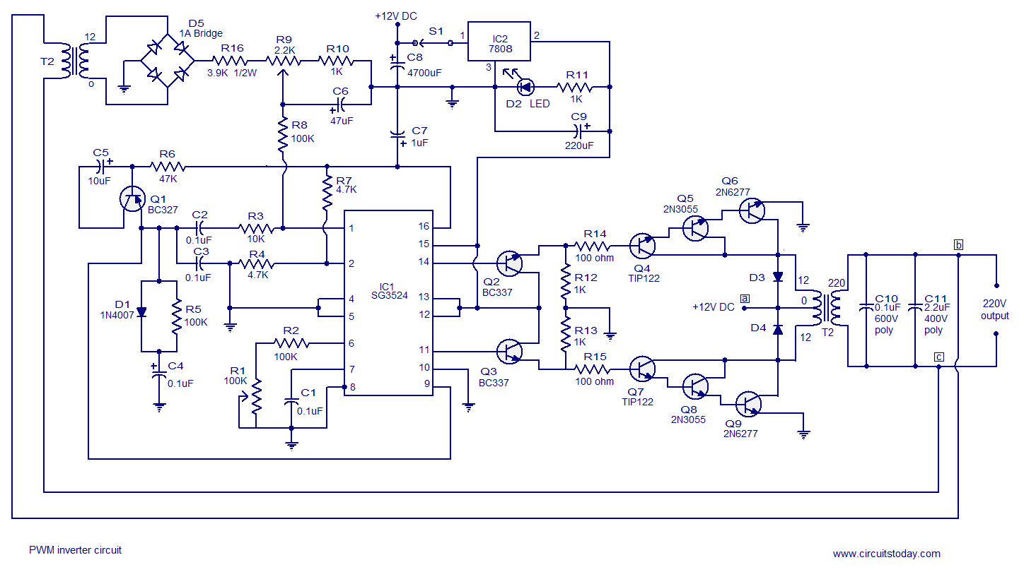 Super Pwm Inverter Circuit Based On Sg3524 12V Input 220V Output 250W Wiring Cloud Overrenstrafr09Org