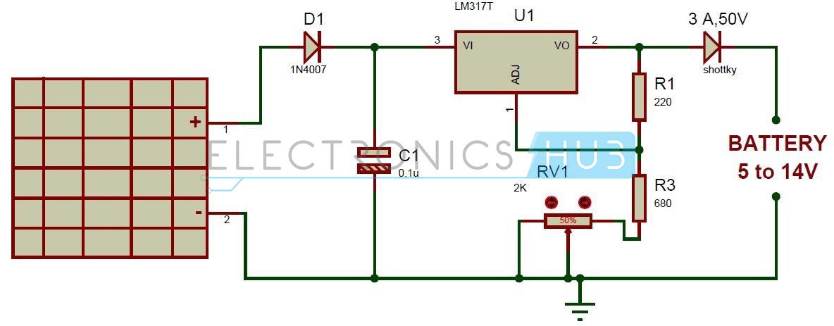 Miraculous Solar Battery Charger Circuit Using Lm317 Voltage Regulator Wiring Cloud Intelaidewilluminateatxorg