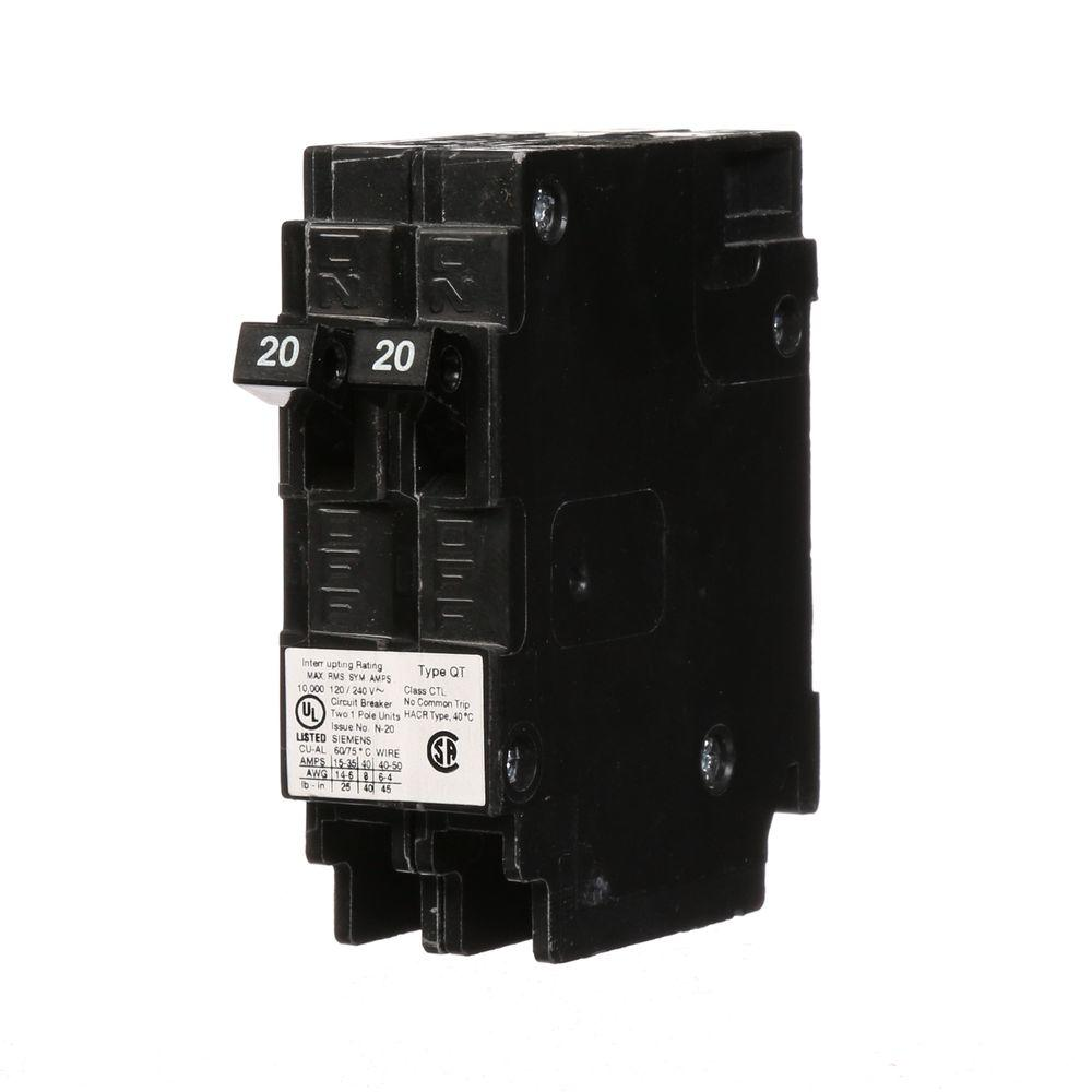 Peachy Siemens 20 Amp Tandem Single Pole Type Qt Circuit Breaker Q2020U Wiring Cloud Intelaidewilluminateatxorg