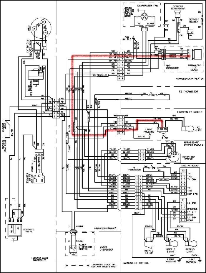 ge refrigerator wiring diagram ice maker  honeywell