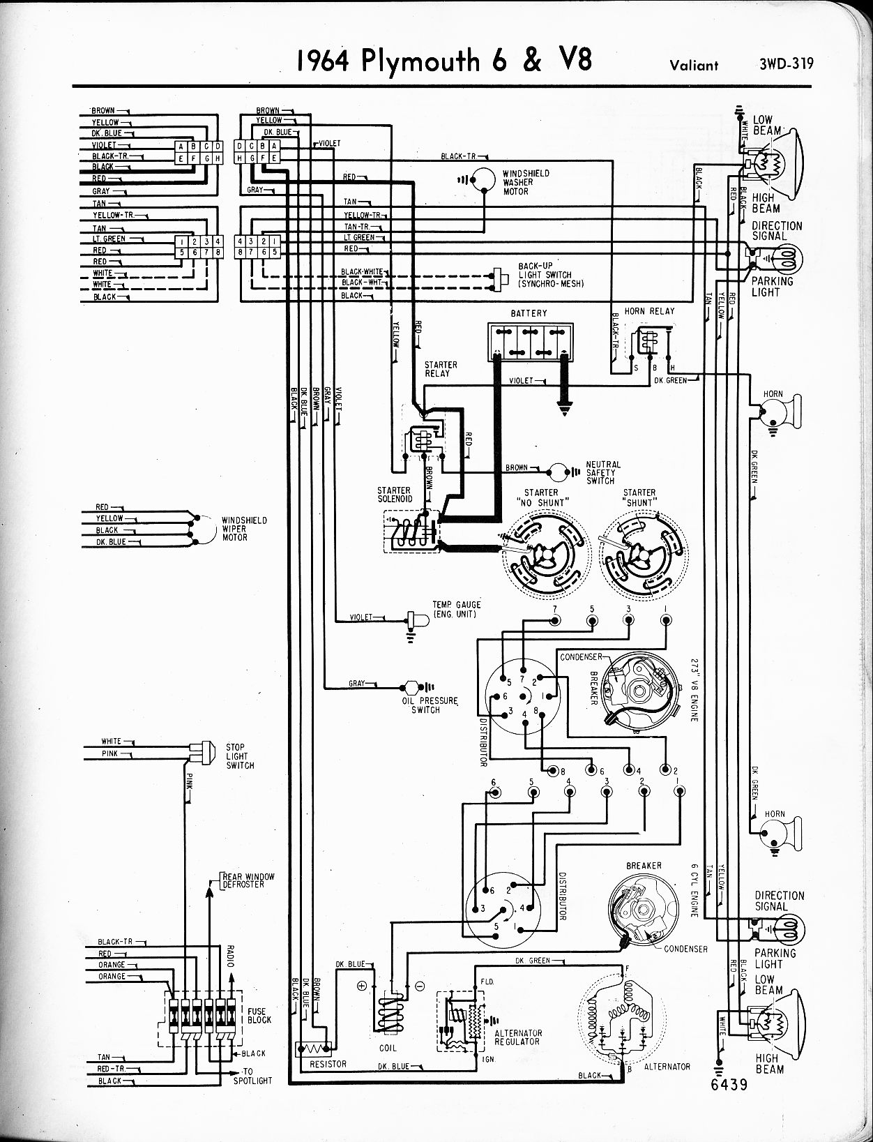 No 6708  1965 Plymouth Valiant Or Barracuda Engine Compartment Wiring Diagram Free Diagram